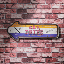 Retro Delicious Food Eat Drink Here Neon Light Open 24 Hours Signs Restaurant Buffet Signage Hanging LED Metal Signs Wall Decor
