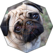 Friend Birthday Gift Good Quality Umbrella Cute And Funny Pug Dog Patten12 For Kids Portable Foldable Umbrellas Outdoor Umbrella(China)