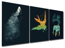 Shiny Wolf Eagle & Elephant Canvas Prints Modern Painting Wall Art Abstract Paintings No Framed Artwork for Room Decoration