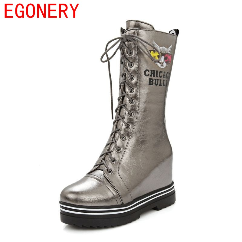 EGONERY shoes 2017 fashion riding equestrian modern round toe lace up height increasing quality short plush women mid calf boots<br>