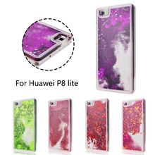 Glitter Dynamic Liquid Case For Huawei P8 Lite Cover Bling Sand Quicksand Star Paillette Transparent Clear Hard Phone shell(China)