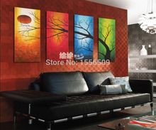 special offer - good -TOP best art oil painting--hand painted - ABSTRACT Four Seasons Tree art 48 inches-free shipping cost(China)
