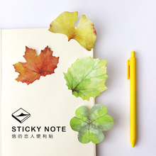 30 Sheets Korean Cute Nature Colorful Leaves Stickers Post it Leave Shape Memo Pad Sticky Notes Bookmarks DIY Message Stickers(China)