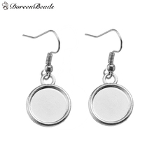 "DoreenBeads Zinc Alloy Earrings Findings Round Silver Tone Cabochon Settings (Fit 12mm Dia.) 34mm(1 3/8"") x 15mm( 5/8""), 20 PCs"