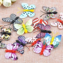 Mixed 3D Butterfly Wedding Decoration Wall Stickers NO Adhesive Decals Home Decor Room Decor Accessories 37x38mm 50pcs CP0677(China)