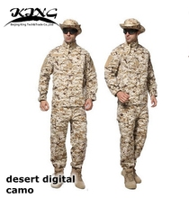 US Army Camouflage Uniform Dsert Digital Camo Tactical Uniform Men Combat Hunting Uniform for Hunting Camping Training War Game