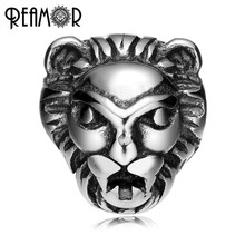 REAMOR 316L Stainless steel Lion head 2mm Beads Charms King of the Forest Spacer Beads for Jewelry Making Bracelet