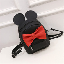 mickey backpack female leather woman backpack with ears bow casual daypack Cute Mini kids Backpacks for teenage girls zipper bag