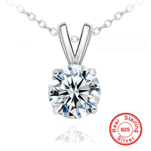 YANHUI Luxury 8mm 2 Carat CZ Diamant Pendant Necklace For Women 925 Solid Silver Chain Crystal Zircon Drop Pendant Necklace N183