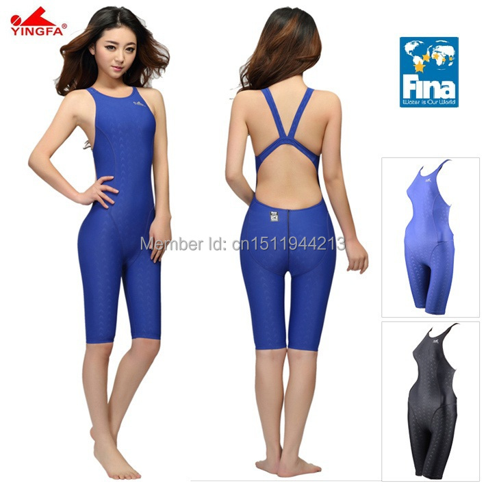 Yingfa FINA Approval Professional swimming women knee Swimsuit Sports Competition Tight full body Bathing Suit<br>