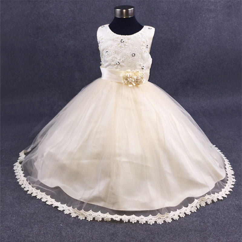 Summer Formal Pearl Pattern Wedding Flower Girl Dresses Pageant Evening Party Dresses 12 Year Teenager Princess Vestido Clothes<br>