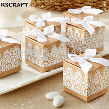 KSCRAFT Free Shipping White Lace Wedding Favor Boxes Wedding Candy Box Casamento Wedding Favors And Gifts 30pcs/lot