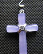 Free shipping Jewelr 005511 Lavender Crystal Cross Pendant & Necklace(China)