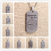 6Pcs/lot Mix  49ers Titans Steelers Dog Tags Pendant Necklace Silver Stainless Steel Football Charms Necklace Jewlry For Men