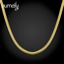 OUMEILY New Trendy Gold Color Unique Snake Chain Necklaces Men Jewelry 2 Colors Long Chain Fashion Party Holiday Accessories