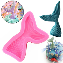 1Pc Mermaid Tail Silicone Mold Cookie Fondant Mold Candy Chocolate Mould Cake Decoration Bakery Tool Kitchen Gadget(China)