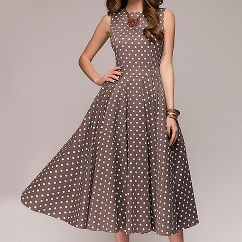 New S-4XL Retro Women Polka Dot Swing Dress Elegant Sleeveless Vintage New Ladies Summer Plus Size Casual Party Dresses Vestidos