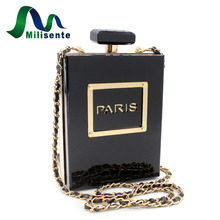 Milisente Women Clutch Purse Perfume Bottle Crossbody Bags Laides Black Acrylic Clutch Bag(China)