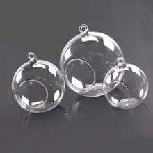 Clear Glass Round Hanging Candle Light Holder Candlestick Wedding Decors Home Accessories - 6CM