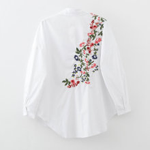 2017 Spring Fashion Women Vintage Back Flower Embroidery White Blouses Long Sleeve Tops Feminina Blusas Loose Shirts LS1044