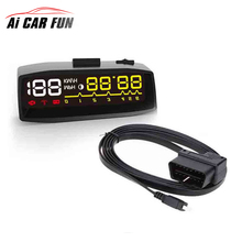 REAKOSOUND Newest 4F Car OBD2 II HUD KM/h MPH Overspeed Warning Windshield Projector Alarm System Head Up Display