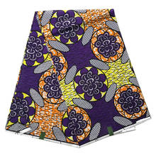 Purple Flower Pattern Real Wax Block Java Super Print Wax Veritable Dutch Nigerian Style African Women Batik