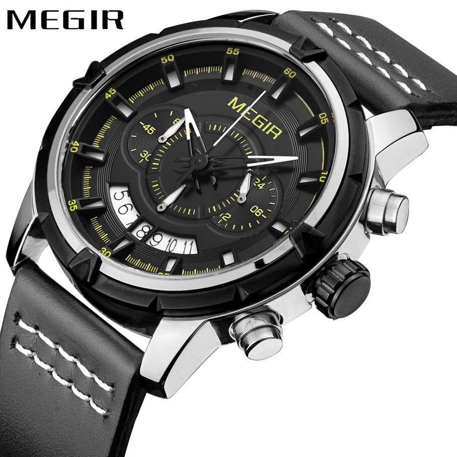MEGIR Waterproof Sport Watch Men Quartz Analog Clock Date Display Leather Strap Classic Concise Wristwatch relogio masculino  <br>