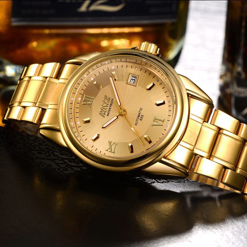 New Golden Mechanical Watch gold Fashion Men watch full Stainless Steel Auto Date watches Wrist Watch BOSCK  Watch Men<br><br>Aliexpress