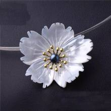 ib3254 3pcs Natural shell Carved Flowers with pearl pendant can used as brooch as, Shell 3D Flower,Jewelry accessories