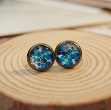 Spring Women Fashion Blue Floral Flowers Print Glass Cabochon Post Earrings Vintage Bronzed Stud Handmade Christmas Gifts rd48(China)