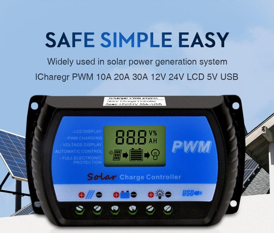 EASUN POWER Solar Charge Controller 30A 20A 10A Voltage Regulator ICharger PWM 24302010-R DES-1