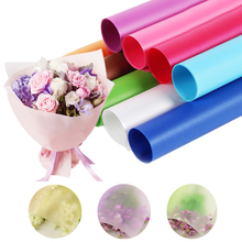 Free Shipping 10 sheets/lot flower dress gift wrapping clear cellophane transparent water proof fog flower wrapping paper(China)