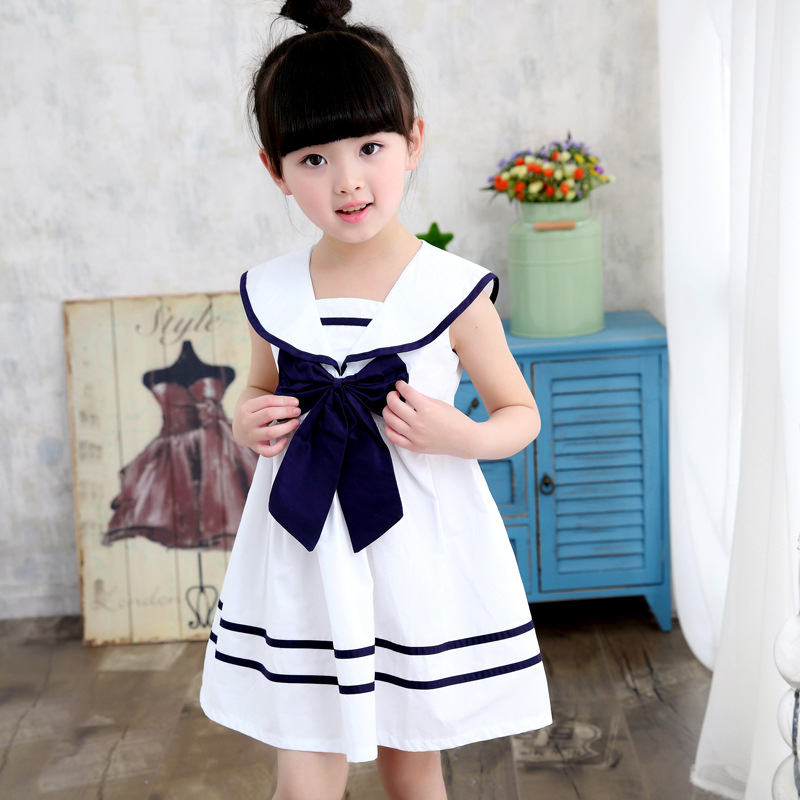 4T-14T Girl Dresses Sailor Princess Preppy Style Dresses Sleeveless Cotton Girl Dresses Spring Summer Autumn<br>