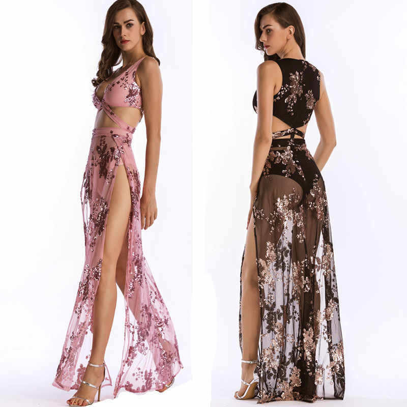 MUXU woman clothes embroidery sequin pink long dress glitter mesh sexy  transparent fashionable sundress party elegant 8db9b774eb20