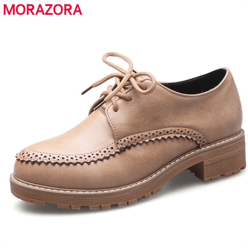 MORAZORA Lace-up round toe med heel platform shoes single four seasons women oxford shoes solid big size 34-43 fashion<br>