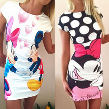 Womens Casual Minnie Dress Summer Cartoon Bandage Package Hip Dress Short Sleeve Cute Female Evening Club Mini Dress  Plus Size