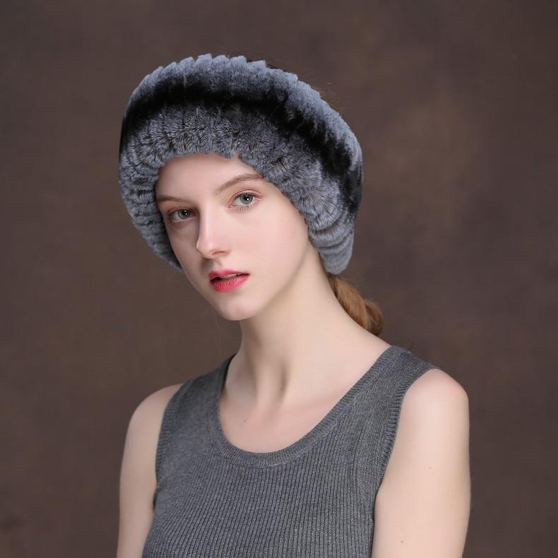 Winter Fur Headbands For Women Knitted Rex Rabbit Fur Scarf Hats Natural Fur Ring hairband Neckwarmer female (24)
