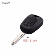 FGHGF 2 Buttons Replacement Remote Key Case Shell Entry Fob Uucut Blade NE73 For Peugeot 106 206 306 406 with logo