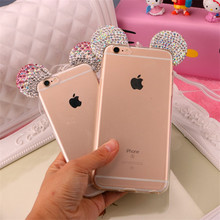Hot Luxury 3D Diamond Glitter Mickey Minnie Mouse Ears Rhinestone Clear Phone Cases Cover For iPhone 7 7Plus 6 6G 6S 6Plus 5.5
