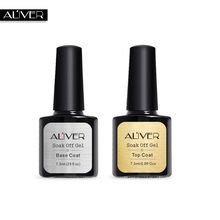 free shipping ALIVER 7ml Gel Nail Polish Base Coat + Top Coat Polish Gel Soak Off UV LED Long Lasting Nail Gel Lacquer(China)
