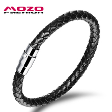 MOZO FASHION Men Bracelet Leather Rope Chain Bracelets Stainless Steel Magnetic Clasps Bracelet Man Gifts Vintage Jewelry MPH956