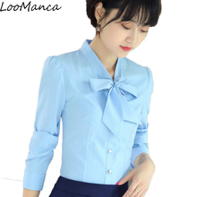 Buy Fashion women clothing long sleeve blouses korean style slim bow collar chiffon shirt formal office ladies tops plus size 4XL for $14.92 in AliExpress store