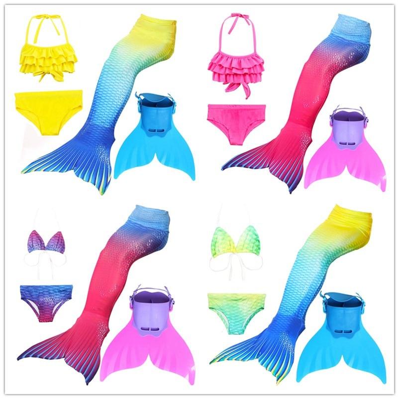 New 4pcs Girls Mermaid Tails Swimming Costume Swimmable Kids Children Bikini Bathing Swimsuit Little Mermaid Tail Cosplay