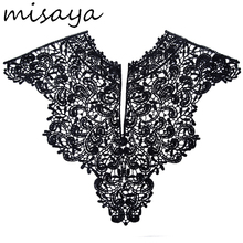 Misaya 1pc Polyester Flower 2 Colors Lace Neckline Fabric,Wedding Dress Collar Lace For Sewing Supplies Crafts