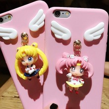 Japan and South Korea creativity cartoon beauty girl ornaments pendant for iphone7 6s plus mobile phone case tide female models(China)