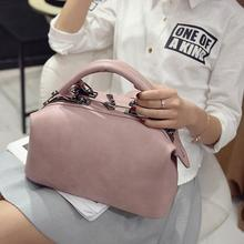 2016 autumn new handbag Boston High quality PU leather Women bag British fashion box handbag shoulder Messenger wild Female bag