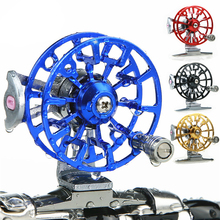 Wholesale Metal Fly Fishing Reels Arbor Die Casting Spool Centrifugal Droplets Round Bearings Aluminum Alloy Fly Fishing Wheel(China)