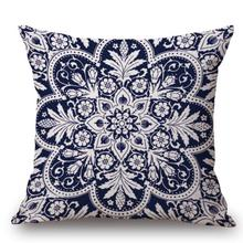 Factory Supply China Style Blue And White Porcelain Patterns Cotton Linen Throw Pillow Sofa Chair Seat Cushion For Home Decor(China)