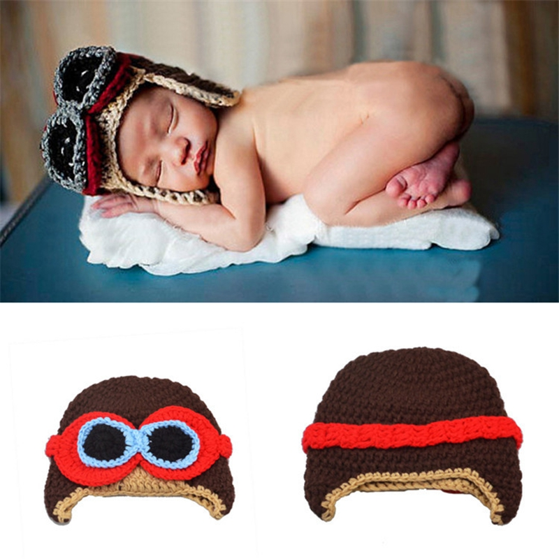 The new flight baby hand knitted hat children handmade wool hat pilots KXBBP091(China (Mainland))