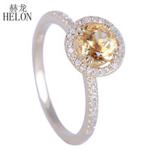 HELON 6.5mm Round  0.81ct Genuine Citrine Pave 0.2ct Natural Diamonds Halo solid 14k Yellow Gold Engagement Wedding Women's Ring